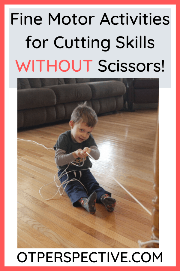 Is this even possible? Yes! Discover the activities that Occupational Therapist use while working on cutting skills in the schools. #finemotor #finemotoractivities #finemotoractivitiesforkids #finemotoractivitiesforpreschoolers #finemotoractivitiesforkindergarten #finemotorcuttingactivities