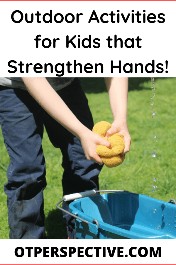 Get these Outdoor Activities for your kids that will work on their writing, scissor skills, fine motor skills and self help skills without them even realizing that is what they are doing! Hand strength plays a major part in all of these life skills! #outdooractivitiesforkids #outdooractivities #outdooractivitiesforspring #outdooractivitiesforpreschoolers #handstrengtheningforkids #handstrengtheningactivitiesforkids #handstrengtheningactivitiesforkidsathome