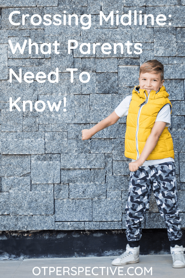 Crossing Midline is a major foundational skill, yet so many kids can't do it. Find out what crossing the midline is and what you can do today to help your kiddo! #crossingmidline #crossingmidlineoccupationaltherapy #handdominance #kidsselfcare