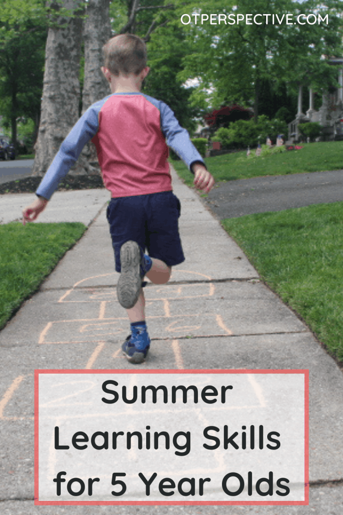 Checkout these learning skills picked by a Teacher, OT, PT, and Speech Therapist to prevent the summer slide for 5 year olds! You might be surprised! #summerskills #summerskillsforkids #summerslideprevention #summerslidepreventionforparents