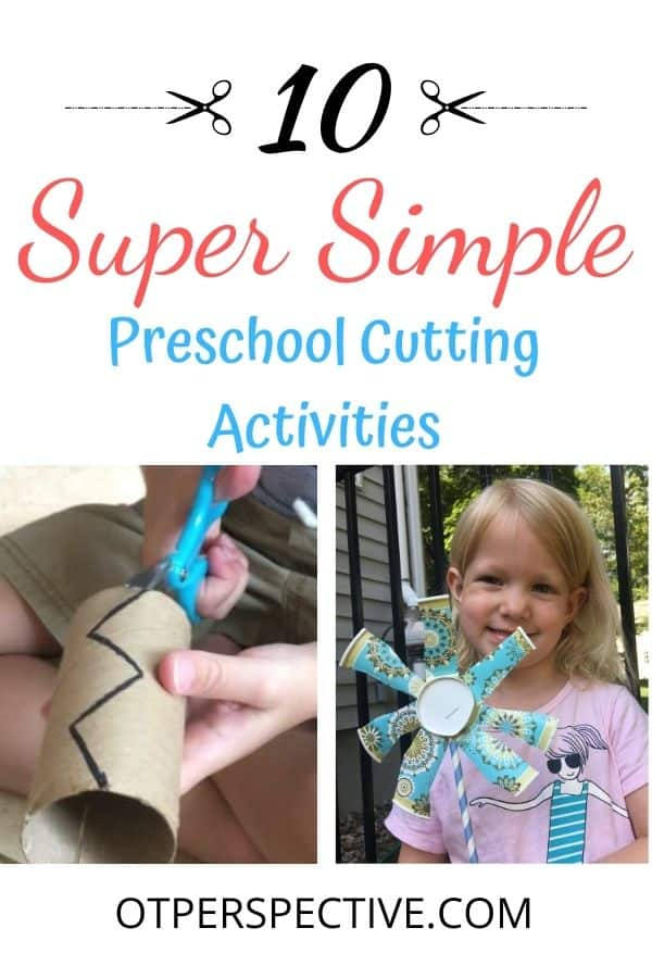 10 Easy Preschool Cutting Activities with things that you have at home. Plus tips Occupational Therapists use when teaching scissor cutting skills! #preschoolcuttingactivities #preschoolcuttingactivitiesscissorpractice #preschoolactivitiesscissorskills #preschoolactivitiesathome #funpreschoolcuttingactivities #preschoolcuttingactivitiesideas