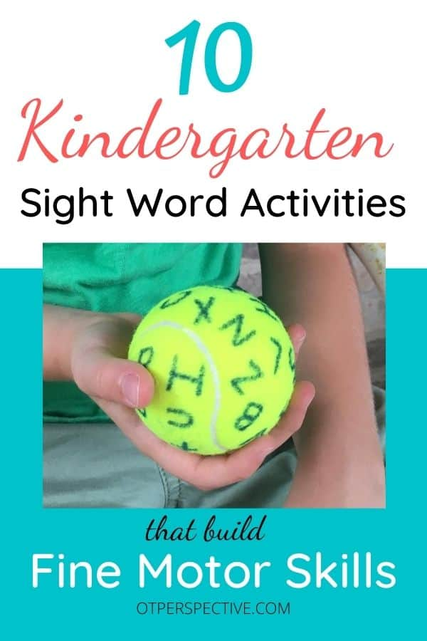 Learn 10 fun and easy Kindergarten sight word activities that will also develop fine motor skills using household or low cost items. Make learning fun! #kindergartensightwordactivities #kindergartensightwordactivitiesforhome #funkindergartensightwordactivities #kindergartensightwordactivitiesideas #finemotorskills #finemotorskillsactivities #finemotorskillsactivitiesforkids #finemotorskillsactivitiesforkindergarten #finemotorskillsactivitiesforkids #finemotorskillsactivitiesathome #finemotorskillsactivitiesoccupationaltherapy #finemotorskillsactivitiesforkindergarten