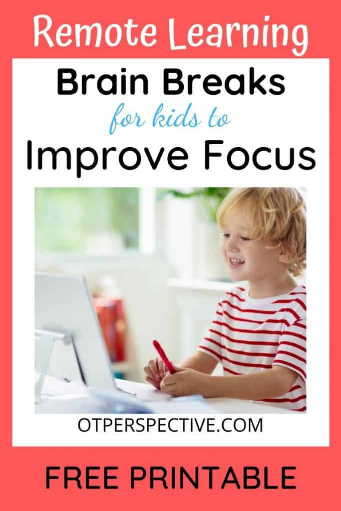 Quick and easy Remote Learning Brain Breaks for Kids at home, or in school! Get  your FREE PRINTABLE and improve your kiddo's focus today! #remotelearningbrainbreaks #virtuallearningbrainbreaks #distancelearningbrainbreaks #brainbreaksforkids #brainbreakselementary #brainbreaksforkindergarten