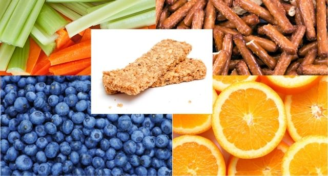 Carrots, celery, pretzel rods, blueberries, oranges, and granola bars are examples of snacks that help  increase focus