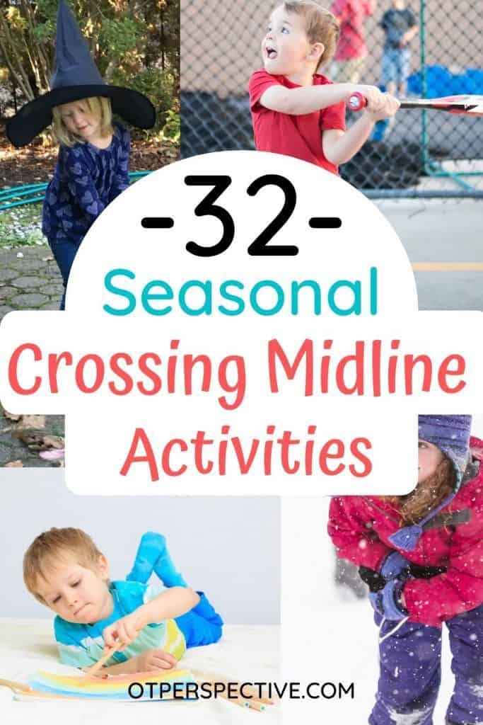 Fun season themed Crossing Midline Activities will get your Kiddo in the spirit of the season and extra practice in mastering this life skill. #crossingmidlineactivities #crossingmidlineactivitiespreschool #crossingmidlineactivitieskids #crossingmidlineactivitiesoccupationaltherapy #crossingmidlineactivitiesot #seasonalactivities #seasonalactivitiesforkids