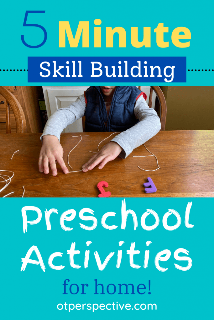 5 minute preschool activities developing fine motor, gross motor, eye-hand coordination, core strengthening, and attention with everyday items. Preschool Activities. Preschool fine motor activities. Preschool gross motor activities. Preschool eye-hand coordination activities. Preschool Attention activities.